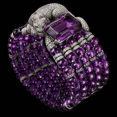 PANTHÈRE DE CARTIER BRACELET Platinum, amethysts, onyx, emeralds, diamonds. http://amzn.to/2tpDPX4