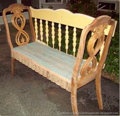 benches from chairs...and headboard or crib rail??
