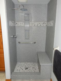 Corian Shower Walls Beautiful Custom With Pebble Floor And Inset Is Shown Here
