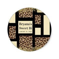 Color Block Cream Ivory Black & Leopard Cheetah Classic Round Sticker - bridal gifts bride wedding marriage