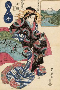Bijin Awase. Ukiyo-e woodblock print. Early 1800's, Japan, by artist Utagawa Toyokuni II