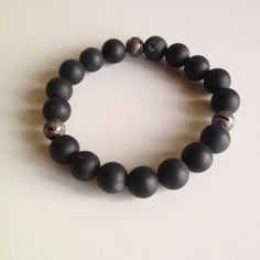 Self Confidence - Men's Genuine Matte Black Onyx Bracelet with Copper Beads - Positive Energy