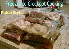 Freezer to Crockpot paleo meals. Links to eight recipes. Double for two weeks worth of meals. paleo crockpot for two Paleo Freezer Meals, Crock Pot Freezer, Freezer Cooking, Crock Pot Cooking, Chicken Freezer, Bulk Cooking, Fast Meals, Crock Pots, Sugar Detox Recipes