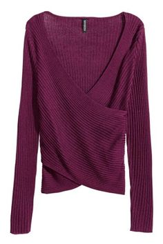 Ribbed wrapover top: Long-sleeved top in a soft rib knit with a V-neck and wrapover front.