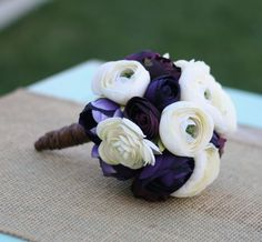 Love...Bride Bouquet Cream Ivory Purple Vintage Rustic Wedding (item F10507). $69.99, via Etsy.