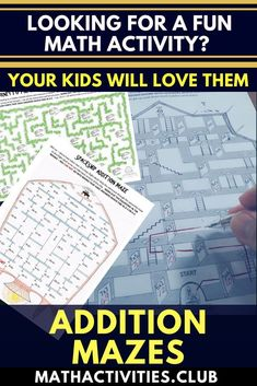 ADDITION MAZES! Students will love these fun worksheets as they have to use their addition knowledge to find the way through mazes. An awesome learning activity for elementary kids which can be used in your classroom as a math warm-up, early finisher acti