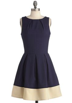 Shoreline Soiree Dress in Navy: As you snack on elegant hors d'oeuvres at a swanky beachfront venue  your friends compliment the way your fabulous frock embodies the beauty of the seaside sett…    #1960s #60s #Retro #Vintage #Blue, #ModCloth, #ShorelineSoireeDressInNavy