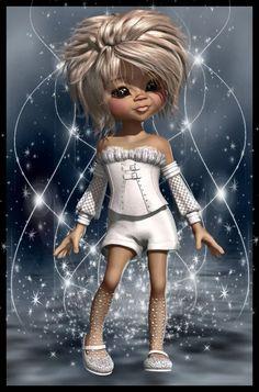 kiki Bratz Doll, Blythe Dolls, Big Eyes Artist, Black Artwork, Glitter Girl, Anime Dolls, Little Designs, Anime Fairy, Fairy Art