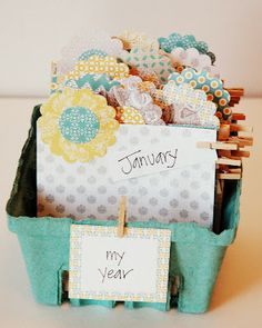 Berry Basket Calendar...This would also make a cute recipe file.