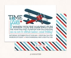 Airplane Birthday Invitation / Vintage Airplane Invitation /