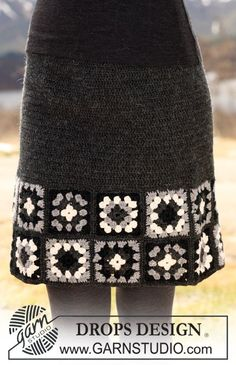 """DROPS Crochet Skirt in """"Karisma"""" with patterned squares along bottom edge. Size XS-XXL. ~ DROPS Design"""