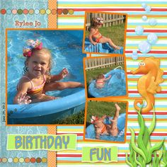 Birthday Swimming Scrapbook Layout