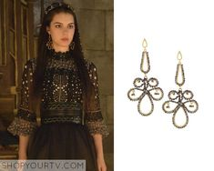 Mary Queen of Scots (Adelaide Kane) wears these swirled earrings in this week's episode of Reign. It is the Azaara Sahara Beaded Swirl Earrings. Buy them HERE
