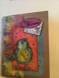 Birthday card. Scribbly bird
