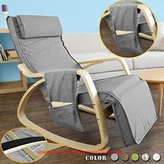 SoBuy FST18 DG, Comfortable Relax Rocking Chair, Lounge Chair Recliners  With Adjustable Footrest