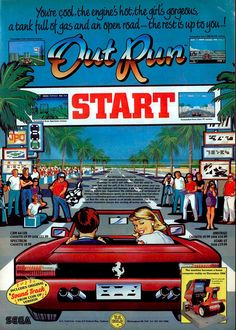 BROTHERTEDD.COM - Out Run advert! 😍 Video Vintage, Vintage Video Games, Classic Video Games, Retro Video Games, Vintage Games, Arcade Retro, Retro Gamer, 8 Bits, Video Game Posters