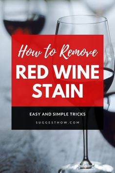 If you are constantly worried about not to spill a single drop of red wine on your shirt or sofa, this guide is for you. Learn How to Remove Red Wine Stain from carpet or clothes with 6 easy diy steps! Deep Cleaning Tips, Household Cleaning Tips, Cleaning Hacks, Red Wine Stains, Stain Remover Carpet, How To Clean Carpet, Clean House, Vinegar, Easy Diy