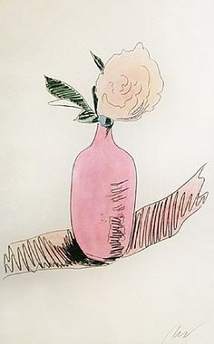 A pink posy print by Andy Warhol // sketch, illustration Pop Art, Illustration Inspiration, Illustration Art, Andy Warhol Flowers, Arte Pop, Art Moderne, Wassily Kandinsky, Oeuvre D'art, Painting & Drawing