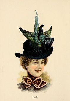 Fine Millinery 1899 Hat 12 Canvas Art - Unknown x Street Harassment, Victorian Hats, Victorian Ladies, Feather Hat, Moda Vintage, Fashion Design Sketches, Braids For Long Hair, Costume, Vintage Ladies