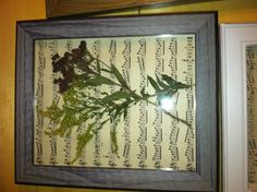 Pressed flowers, frame, old sheet music. Simple!