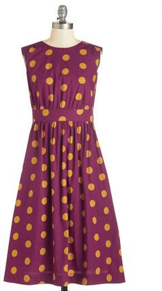 $49, Ltd Too Much Fun Dress In Burgundy Dots Long by Emily And Fin. Sold by ModCloth. Click for more info: http://lookastic.com/women/shop_items/228734/redirect