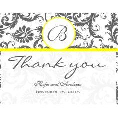 Black Damask Swirl Yellow Wedding Thank You Cards invitation