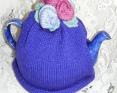 KNITTED TEA COSY - Roses  Tea Cosy - Retro Tea Cozies - Teacher Gift -  hand knitted teapot warmer - Purple Tea Cosy. Rose Flower Tea Cosy