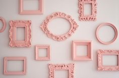 Collection of painted pink vintage picture frames to decorate wall in baby's room, girl bedroom; cottage style home decor; Upcycle, Recycle, Salvage, diy, thrift, flea, repurpose!  For vintage ideas and goods shop at Estate ReSale & ReDesign, Bonita Springs, FL