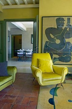 chartreuse living room design restaurant in Epic Hotel Interior Design with Original Eclectic Decor.How to use furniture parts Home Design D. Style At Home, Mid-century Modern, Interior Decorating, Interior Design, The Design Files, Take A Seat, Home Fashion, Style Fashion, My New Room