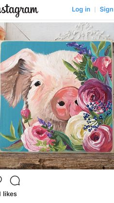 I cant do this but its too cute not to save animal paintings, flower canvas Cow Painting, Painting & Drawing, Painting Inspiration, Art Inspo, Wal Art, Art Watercolor, Arte Sketchbook, Animal Paintings, Flower Canvas Paintings