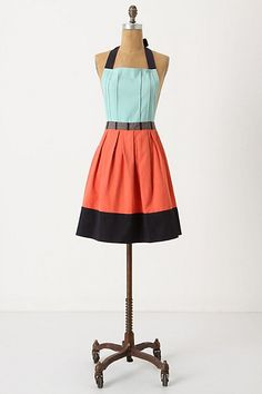 Anthro color block apron - simple flat front bodice with pleats (could sew pin-tucks for a similar look)