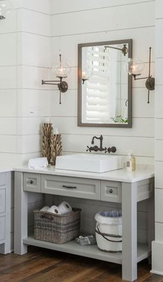 Beautiful shiplap bathroom!
