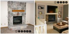 fireplace makeover before and after, construction2style on Remodelaholic