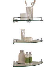 Glass corner shelves