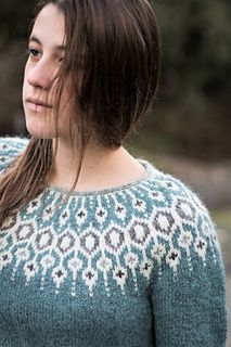 Diy Crafts - Inspired by traditional Icelandic circular yoke sweaters, Telja is knit in the round from the bottom up. Short rows are worked on the bac Fair Isle Knitting, Hand Knitting, Norwegian Knitting, Icelandic Sweaters, I Cord, Knit In The Round, Sweater Design, Knitting Designs, Pulls