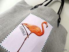 """sac en lin motifs flamant rose """"flamingo"""""""