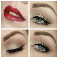 A very neutral look with the eyes and hot red color on the lips, can't never go wrong ;)