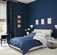 Blue Color Scheme Midnight Bedroom Dark Walls Navy