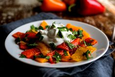 NYT Cooking: Grilled Peppers with Garlic Yogurt