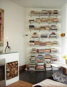 Love the idea of stacking books rather than standing them the usual way on a bookshelf.