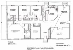5 bedroom floor plans | 36 x 68 5 bedroom 3 5 bath 2448 sq ft