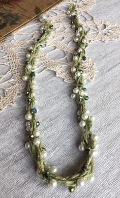 Linen necklace Natural jewelry Green crochet beaded linen necklace
