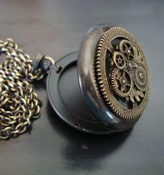 Steampunk Geared Pocket Watch Locket, Nice Vintage Ox Patina, Quality USA Locket, 32 Inch Real Brass Chain. $34.00, via Etsy.