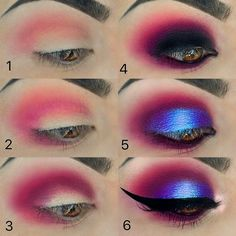 Blue and pink eye makeup look