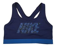 Nike Womens Pro Classic Logo Compression Sports Bra Medium Blue * Read more reviews of the product by visiting the link on the image.