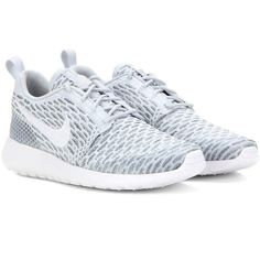 Nike Nike Roshe One Flyknit Sneakers ($150) ❤ liked on Polyvore featuring shoes, sneakers, nike, grey, flyknit trainer, nike shoes, nike footwear and nike sneakers