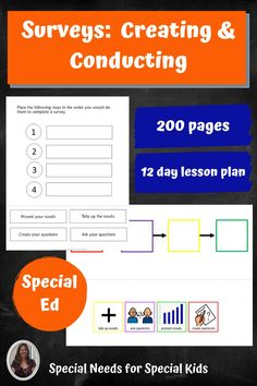 This unit is on surveys. It teaches students how to create and conduct a survey. It was created for students with autism and special learning needs in middle and high school. It contains a book, vocabulary, activities, and an assessment. There are differentiated versions of many of the activities. There is also a 6 task engaging learning experience. It is all guided by a 12 day lesson plan. #specialneedsforspecialkids #specialeducation #specialed #math #statistics #surveys Special Education Classroom, Number Sense, Teaching Math, Life Skills, Assessment, Lesson Plans, Vocabulary, Create Yourself, High School