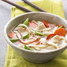 Spicy jalapeno peppers give this simple, soy-infused noodle bowl a lively surprise, while sugar snap peas and carrots add tender crunch. Summer Squash Soup, Summer Soup Recipes, Dinner Recipes, Watermelon Soup, Sweet Corn Soup, Avocado Soup, Good Food, Yummy Food, Turkey Soup