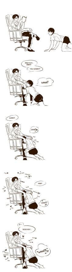 Ereri♥︎ >///< Hungry Eren feeding on Levi~~! I love it