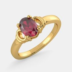 Beautiful oval-shaped ruby gemstone studded center in the four-prong setting with an yellow gold ring. Ruby ring is available to order and can be shipped anywhere in the world. Ruby Gemstone, Gemstone Jewelry, Pearl Online, Diamond Wedding Rings, Wedding Bands, Sapphire Diamond, Yellow Gold Rings, Ring Designs, Gemstones